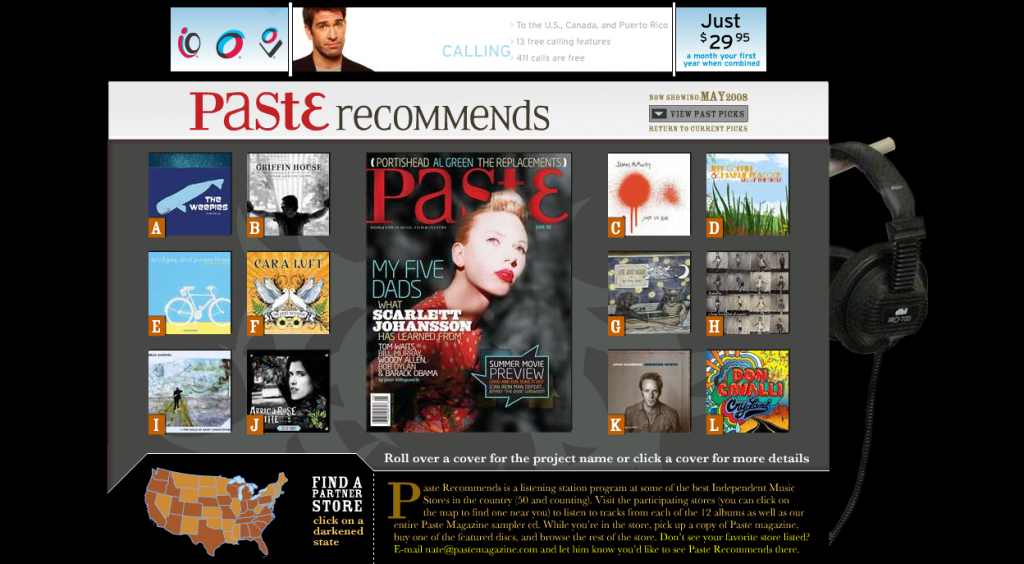 Screenshot of Paste magazine